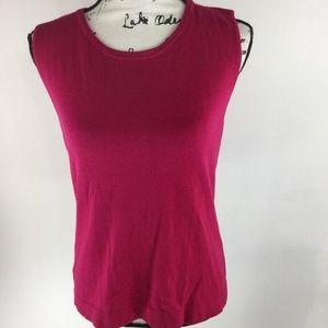 JONES WEAR Scoop Neck Sleeveless Pink Knit Blouse
